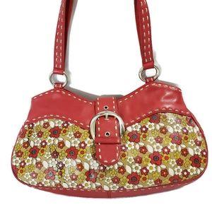 Isabella Fiore Red Leather Floral Shoulder Bag